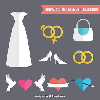 Collection d'éléments de mariage plat