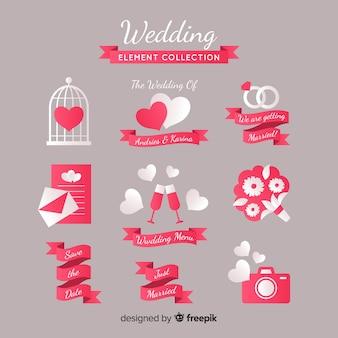 Collection d'éléments de mariage plats