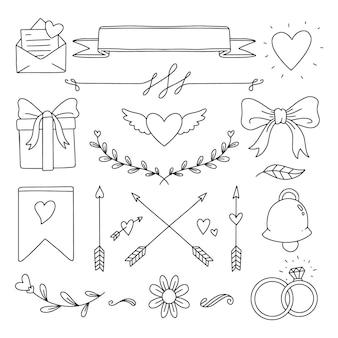 Collection d'éléments de mariage vintage dessinés à la main