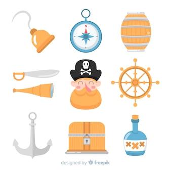 Collection d'éléments marins plats