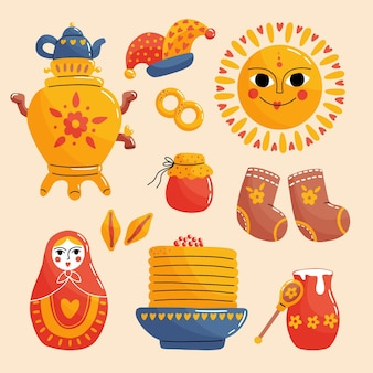 Collection d'éléments maslenitsa dessinés à la main