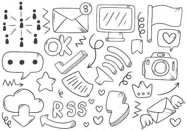 Collection d'éléments de médias sociaux dessinés à la main