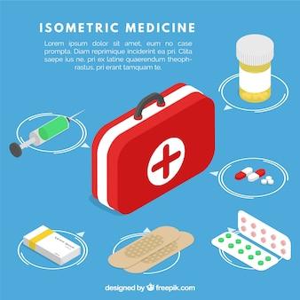 Collection d'éléments médicaux isométriques