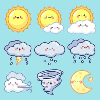 Collection d'éléments météorologiques dessinés à la main