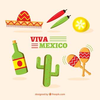 Collection d'éléments de mexique dans le style plat