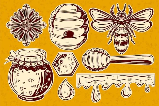 Collection d'éléments de miel vintage.