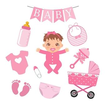 Collection d'éléments mignon bébé fille conception de dessin animé de vecteur plat