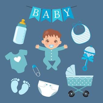 Collection d'éléments mignon bébé garçon conception de dessin animé de vecteur de style plat