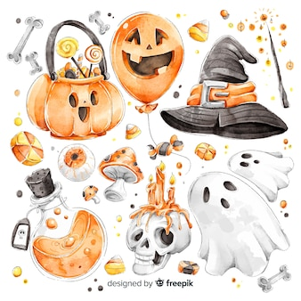 Collection d'éléments mignons aquarelle halloween