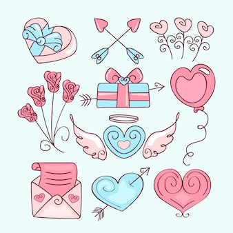 Collection d'éléments mignons dessinés à la main pour la saint-valentin