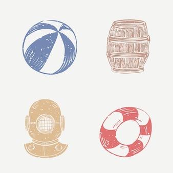 Collection d'éléments mignons de linogravure de casque de plage et de plongée