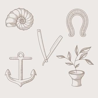 Collection d'éléments monochromes dessinés à la main