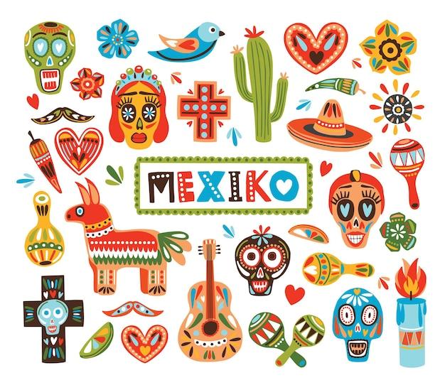Collection d'éléments nationaux mexicains isolés sur blanc
