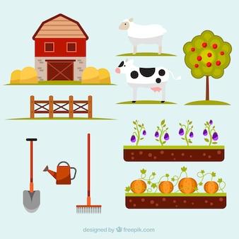Collection d'éléments de la nature et de l'agriculture