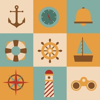 Collection d'éléments nautiques