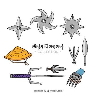 Collection d'éléments de ninja dans un style dessiné à la main