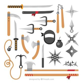 Collection d'éléments de ninja dans un style plat