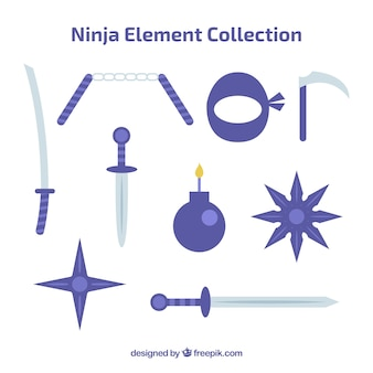 Collection d'éléments ninja avec un design plat