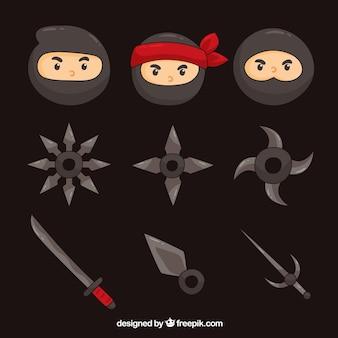 Collection d'éléments ninja avec un design plat
