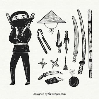 Collection d'éléments ninja dessinés à la main