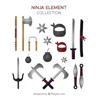 Collection d'éléments ninja guerrier avec un design plat