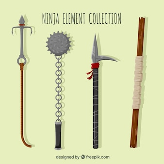 Collection d'éléments de ninja plat de quatre