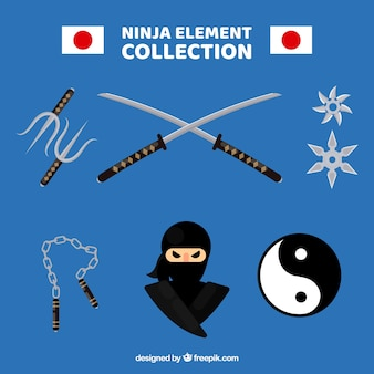 Collection d'éléments ninja traditionnelle avec un design plat