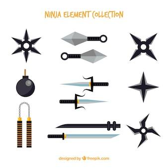 Collection d'éléments ninja traditionnelle avec un design plat