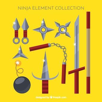 Collection d'éléments ninja traditionnels avec un design plat