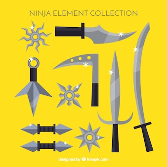 Collection d'éléments ninja traditionnels avec un design plat