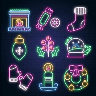 Collection d'éléments de noël au néon