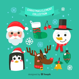 Collection d'éléments de noël colorés avec un design plat