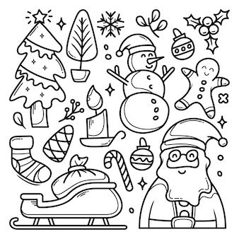 Collection d'éléments de noël dans un style doodle