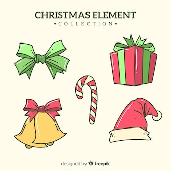 Collection d'éléments de noël dessinés à la main