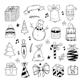 Collection d'éléments de noël avec style dessiné à la main ou doodle sur fond blanc