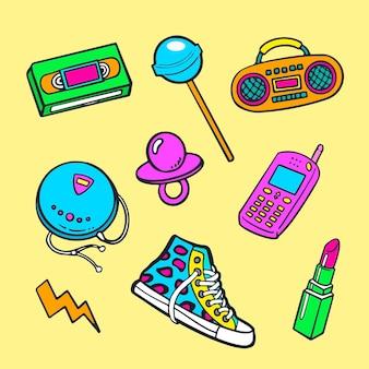 Collection d'éléments nostalgiques des années 90 dessinés à la main
