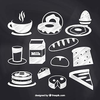 Collection d'éléments de nourriture chalkboard