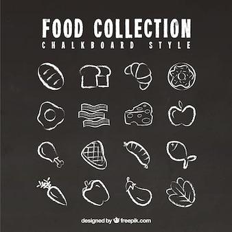 Collection d'éléments de nourriture dans le style de tableau