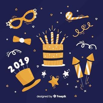 Collection d'éléments de nouvel an dessinés à la main