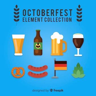 Collection d'éléments oktoberfest au design plat
