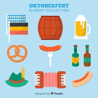 Collection d'éléments oktoberfest classique avec un design plat