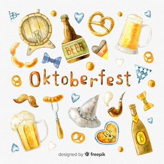 Collection d'éléments de l'oktoberfest dans un style aquarelle
