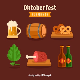 Collection d'éléments oktoberfest design plat