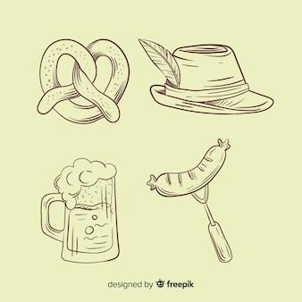 Collection d'éléments oktoberfest dessinés à la main au crayon