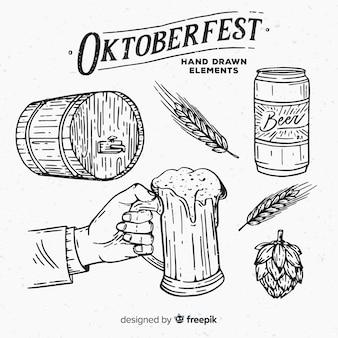 Collection d'éléments oktoberfest dessinés à la main classique