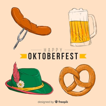 Collection d'éléments oktoberfest dessinés à la main