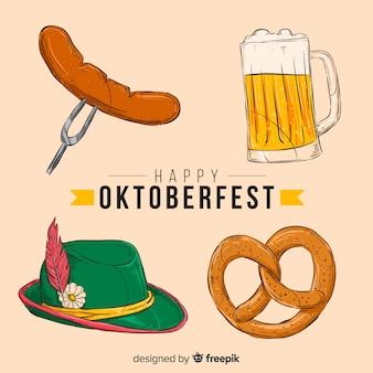 Collection d'éléments oktoberfest dessinés à la main