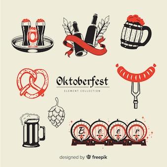 Collection d'éléments oktoberfest à la main style dessiné