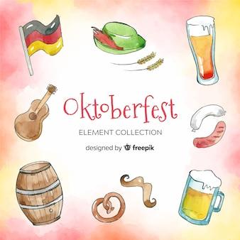 Collection d'éléments oktoberfest traditionnelle aquarelle