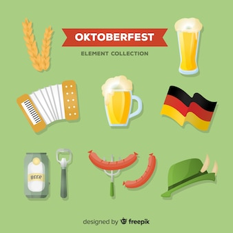 Collection d'éléments oktoberfest traditionnelle avec un design plat